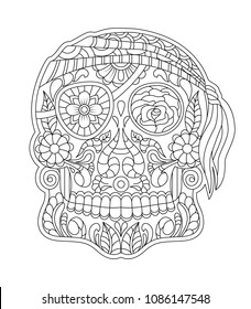 hand drawn mexican sugar skull with Flowers Patterns on the face as isolated vector file