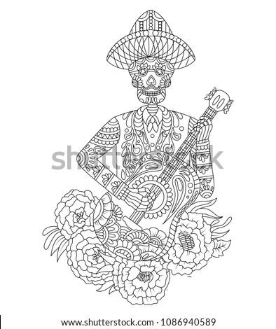 hand drawn mexican sugar skull roses stock vector royalty free