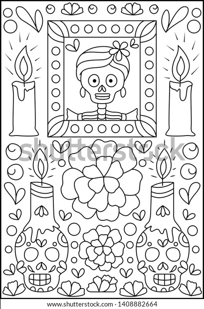 - Hand Drawn Mexican Sugar Skulls Coloring Stock Vector (Royalty Free)  1408882664