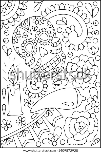 - Hand Drawn Mexican Sugar Skulls Coloring Stock Vector (Royalty Free)  1409872928