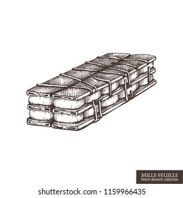 Hand drawn mille-feuille illustration on white background. Vector French Napoleon cake drawing. Vintage desserts sketch for cafe or restaurant menu design.