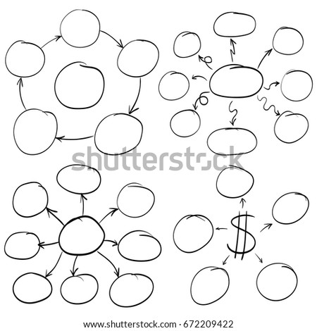 Hand Drawn Mind Mapping Schema Circles Stock Vector Royalty Free