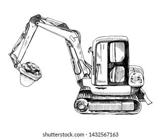Hand drawn mini excavator isolated on white background. Vector illustration