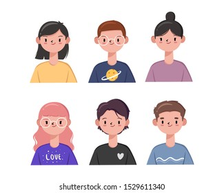Hand Drawn Minimalist Character Set, Vector Cute and Modern Style Avatar