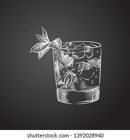 Hand drawn mint julep sketch symbol. Vector old fashioned element in trendy style.
