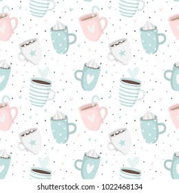 Hand drawn mint Valentine's Day romantic seamless pattern with cute cups, mugs, hearts, coffee, cocoa and more. Vector illustration background in pink and mint colors