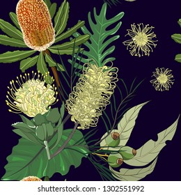 hand drawn mixed australia native flower banksia,pin cushion protea,gumnut in seamless pattern