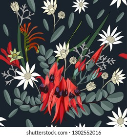 hand drawn mixed australian native flower seamless pattern with swainsona formosa,white flannel,kangaroo paw in vector illustration