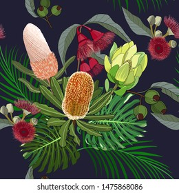 hand drawn mixed kinds of banksia,waratah and protea,australia tropical native wild flower seamless pattern on dark navy background