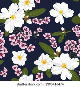 hand drawn mixed white and pink flowers seamless pattern with camellia and geraldton wax from australia garden