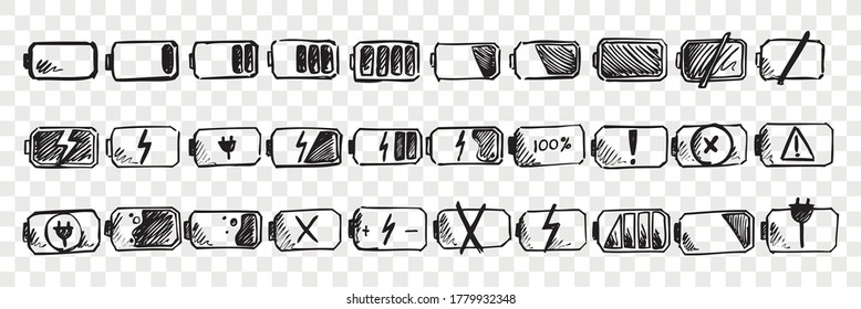 Hand drawn mobile battery doodle set. Collection of pen ink pencil drawing sketches of internet connection indicator isolated on transparent background. Illustration of low or high energy charge