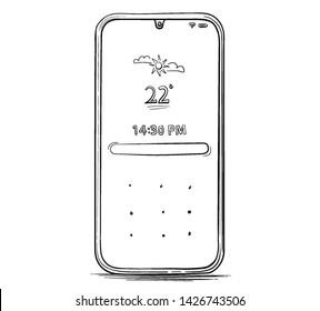 Hand Drawn Mobile Phone Vector Illustration