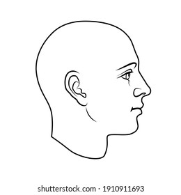 Hand drawn model of human head in side view. Black and white outline flat vector drawing isolated on white background. EPS 8.