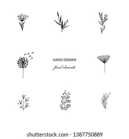 Hand Drawn Modern Minimalistic and Floral Template for photographer, fashion blogger, design studio, interior design. Branding identity collection . Floral feminine element. flowers clipart