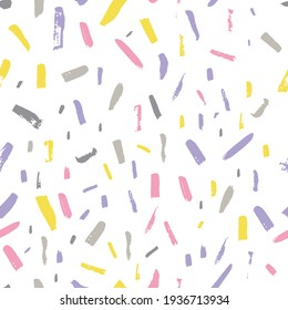 Hand drawn modern pattern of brush stroke. Vector seamless pattern texture shapes. Abstract background in grey and yellow colors. Decorative print