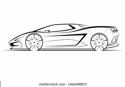 Hand drawn modern sports car silhouette. Side view of supercar. Can be used as a part of an emblem, label, icon, logo. Vector illustration