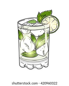 Hand drawn mojito cocktail isolated on white background. Eps10 vector illustration.