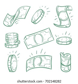 Hand drawn money. Doodle dollar banknotes and coins vector set. Money cash doodle, coin sketch finance banknote illustration