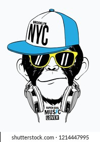 Hand drawn monkey illustration, with glasses, a headphone, a hat and hand drawn slogans. Vector graphics for t-shirt and other uses.