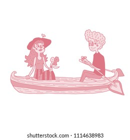 Hand drawn monochromatic illustration depicted happy young couple sailing on a boat. Isolated vector design for Valentine's day in red and blue colors.