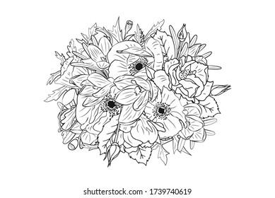 Hand drawn monochrome crocus, poppy, rose flowers round arrangement. Floral design element. Isolated on white background. Vector illustration.