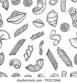 Hand drawn Monochrome Cute seamless pattern made of Italian pasta types. food, drink, menu label, banner poster identity, branding. Stylish design with sketch illustration
