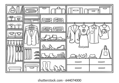 Hand drawn monochrome family wardrobe concept with male and female clothing footwear and accessories vector illustration