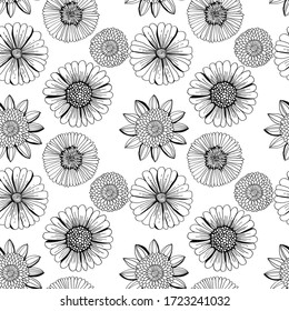 Hand drawn monochrome floral ornament. Vector seamless pattern.