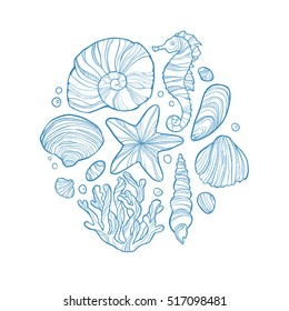 Hand drawn monochrome sketch of shell, seahorse, starfish, coral and others sea life in circle isolated on white background. Art vector stylized illustration.