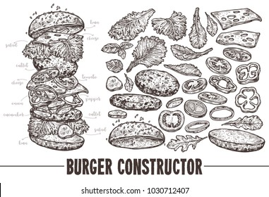 Hand drawn monochrome vector burger with ingredients. Sketch illustration of hamburger products components and elements. Constructor for fast food restaurant menu