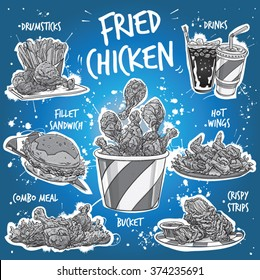 Hand drawn monochrome vector illustration of popular Fried Chicken varieties. Hot Wings, Drumsticks, Combo Meal, Crispy Strips, Bucket, Fillet Sandwich with drinks, dips, french fries and lettuce.
