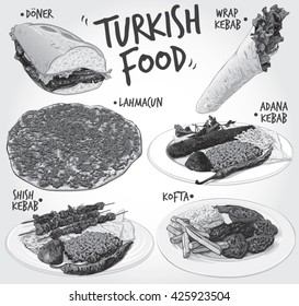 Hand drawn monochrome vector illustration of 6 popular Turkish Food varieties; including Half Bread Doner Kebab, Wrap Kebab, Lahmacun, Adana Kebab, Shish Kebab and Kofta or Turkish Meatballs.