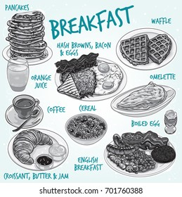 Hand drawn monochrome vector illustration of breakfast variations, pancakes, waffle, orange juice, coffee, croissant, hash browns, bacon, egg, toasted bread, cereal, English breakfast, omelette.