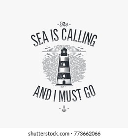Hand drawn monochrome vintage nautical label, clothing apparel print, retro badge vector illustration with lighthouse.