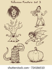 Hand drawn monster doodles in ink. Ideal for apothecary bottles and greeting cards and more. Clean vector for easy editing.