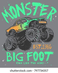 Hand drawn monster truck with typography vector for t shirt printing and embroidery, Graphic tee and printed tee