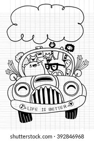 Hand drawn Monsters and cute alien friendly, having fun driving their car on a road trip.vector illustration