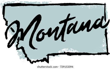 Hand Drawn Montana State Graphic