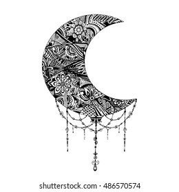 Hand drawn moon with flowers, mandalas and paisley. Black and white floral pattern. Moon card for the holy month of Ramadan.