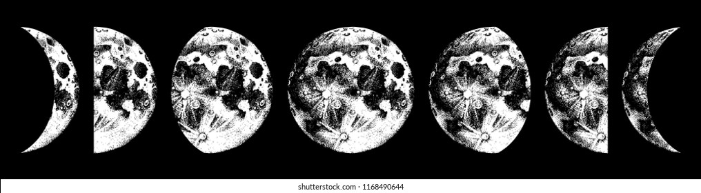 Hand drawn moon phases on black background. Vector illustration