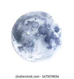 Hand drawn moon watercolor illustration.