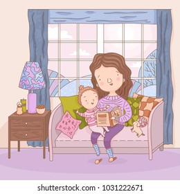 Hand drawn mother reads book to her little child in room. Vector illustration of happy motherhood. Mom and kid reading at home. Carefree young woman and her daughter. Parent teaching a baby.