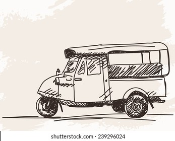 Hand drawn motorcycle rickshaw taxi Vector illustration