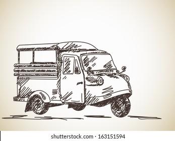 Hand drawn motorcycle rickshaw Vector