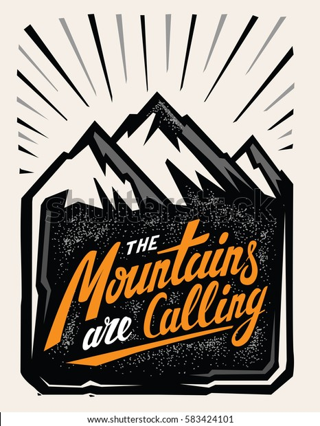 Hand drawn mountain adventure insignia with typography design