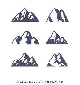 Hand Drawn Mountain Isolated. Vector Illustration Ski Resort Logo. Drawing Camping Element Winter Landscape