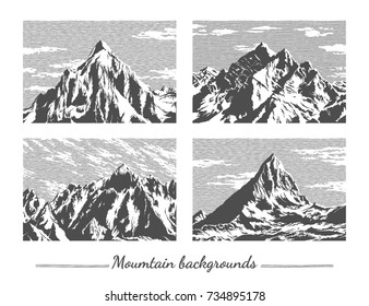 Hand drawn mountain peaks set. Abstract backgrounds. Engraved style vector illustration. Elements for your design works.