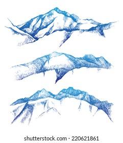 hand drawn mountain range set