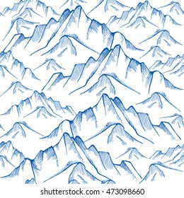 Hand drawn mountain seamless pattern. Landscape pattern. Vector illustration