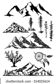 Hand drawn mountains dreamcatcher trees vector illustrations